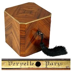 Antique French Tea Caddy Box Signed Vervelle Paris, Napoleon III Kingwood Marquetry Veneer, Lock & Key