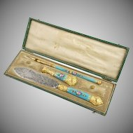 Antique French Blue Enamel Gilt Ormolu Writing Desk Set, Wax Seal, Dip Pen & Letter Opener