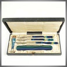 Antique Blue Banded Agate Writing Desk Set, Dip Pen, Pencil, Letter Opener, Wax Seal