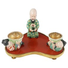Antique French Chinoiserie Red Lacquer & Porcelain Figures Gilt Bronze Inkwell