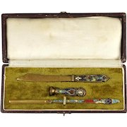 Antique French Champleve Enamel Bronze Writing Desk Set, Calligraphy Pen, Wax Seal, Letter Opener