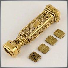 Antique Bronze French Wax Seal Stamp Set, Hidden Drawer, Sceau Etui,
