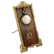 Antique French Napoleon III Pocket Watch Holder Display Stand Empire Neoclassical Gilt Bronze Mounts