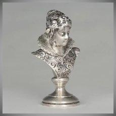 Antique Austrian Solid Silver Wax Seal Desk Stamp Austro-Hungarian Renaissance Lady Bust Sculptural Figure
