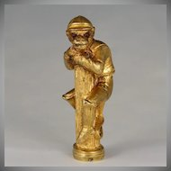 Antique Gilt Bronze Figural Monkey Jockey Wax Seal Stamp, Russian Monogram, Jeweled Eyes