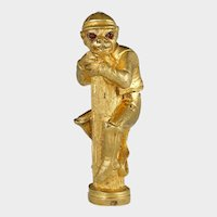 Antique Gilt Bronze Monkey Jockey Wax Seal Desk Stamp, Red Jeweled Eyes, Sculpture Figural
