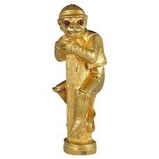 Antique Gilt Bronze Monkey Jockey Wax Seal Desk Stamp, Red Jeweled Eyes, Sculpture Figural
