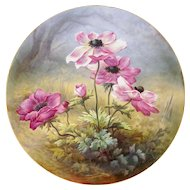 "French Limoges Porcelain Hand Painted Large 18"" Wall Plaque Charger Pink Poppy Flowers, William Guerin / Artist Signed"