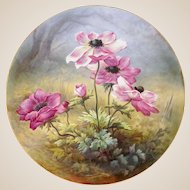 """French Limoges Plate Charger Hand Painted Porcelain Large 18"""" Wall Plaque Pink Poppy Flowers, William Guerin / Artist Signed"""