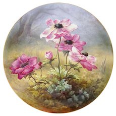 "French Limoges Plate Charger Hand Painted Porcelain Large 18"" Wall Plaque Pink Poppy Flowers, William Guerin / Artist Signed"