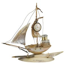 Antique French Mother of Pearl Inkstand & Pocket Watch Holder, Cut Glass Inkwell, Figural Sail Boat, Ship