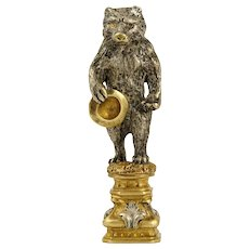 Antique French Gilt Bronze Wax Seal, Solid Bear Figure Desk Stamp