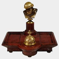 Antique French Gilt Bronze Inkwell Ferdinand Barbedienne Paris Signed Red Marble Inkstand