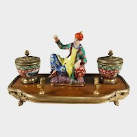 Antique French Chinoiserie Lacquer Wood & Porcelain Figural Gilt Bronze Inkwell, Inkstand