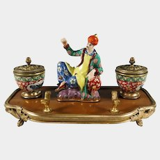 Antique French Chinoiserie Lacquer Wood & Porcelain Figures Gilt Bronze Inkwell, Inkstand