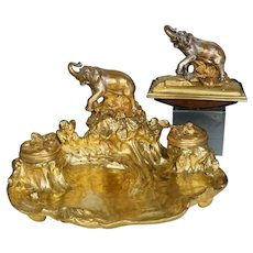 Antique French Silvered & Gilt Bronze Elephant Inkwell & Ink Blotter Animalier Desk Set
