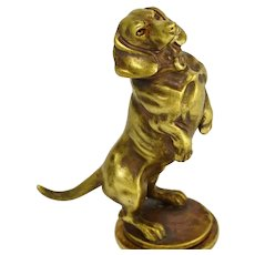 Antique Victorian Bronze Dachshund Dog Wax Seal Hunting Hound Desk Stamp