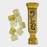 Antique French Enamel Multiple Wax Seal Set, Palais Royal Sceau Cachet Etui, Various Stamps Matrices
