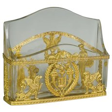 Antique French Gilt Bronze Ormolu Empire Style Cut Crystal Letter Rack Holder Desk Stand