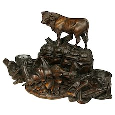 Antique Swiss Black Forest Hand Carved Wood Figural Bull Inkwell, Large Inkstand