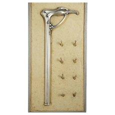 Antique Art Nouveau .800 Silver Figural Parasol Handle Set, Umbrella or Dress Cane, Eagle Head, Bat Wings & Glass Eyes