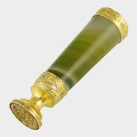 Antique French Gilt Bronze Green Agate Stone Wax Seal Desk Stamp