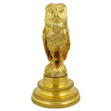 Antique French Gilt Bronze Owl Wax Seal Desk Stamp, with Stand Holder, Signed & Dated 1909