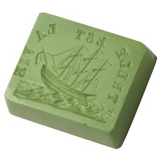 Antique 19th Century Loose Glass Intaglio Wax Seal Stamp - Ship on Rocky Sea, Such is Life