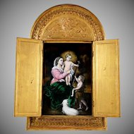 Antique French Limoges Enamel Plaque Gilt Wood Altar Triptych Religious Scene, Virgin Mary & Jesus Christ