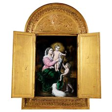 Antique French Limoges Enamel Plaque Gilt Wood Alter Triptych Religious Scene, Virgin Mary & Jesus Christ