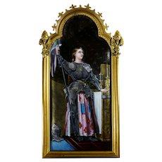 Antique French Limoges Enamel Portrait Plaque Joan of Arc, Religious Miniature Scene