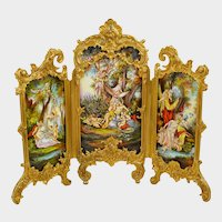 Antique Viennese Enamel Gilt Bronze Table Top Miniature Dressing Screen
