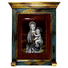 Antique French Limoges Enamel on Copper Miniature Portrait Plaque, Religious Madonna Virgin Mary & infant Jesus Christ, Florentine-style Frame