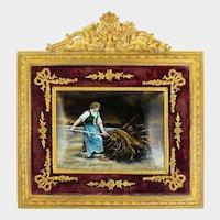 Antique French Limoges Enamel Miniature Portrait Plaque, Farm Scene, Empire Style Gilt Bronze Ormolu Frame