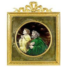 Antique French Limoges Enamel Miniature Portrait Plaque, Gilt Bronze Frame, Religious Scene Saint Peter & John