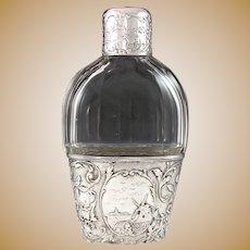 Superb Dutch .833 Silver & Cut Glass Liquor Whiskey Flask