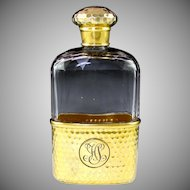 Antique English Gilt Vermeil Sterling Silver Honeycomb Patterned, Cut Glass, Liquor / Whiskey Hip Flask