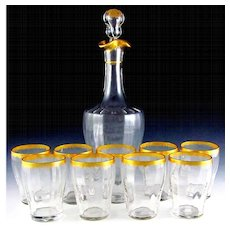 Antique 10pc French Gilded & Fluted Glass Liquor Service, Decanter