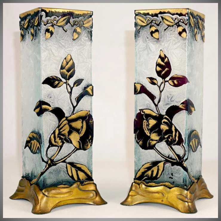 BACCARAT Pair Antique Cameo Gl Vases French Art Nouveau Gilt ... on handmade vases, wooden vases, art vases, frost vases, bowl vases, names of vases, sticks painted vases, decorative vases, traditional vases, engraved vases, bulk mini vases, engravable vases, colored vases, carved vases, gold vases, big vases, mirror vases, yellow vases, vintage vases, kitchen vases,