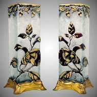 BACCARAT Pair Antique Cameo Glass Vases French Art Nouveau Gilt Metal Bases
