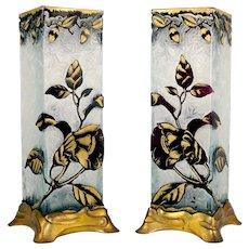 BACCARAT Pair Antique Cameo Glass Vases French Art Nouveau Gilt Metal Bases