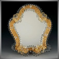 Italian Venetian Murano Art Glass Vintage Vanity Table Wall Mirror, Gold Accents Rosettes
