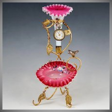 Antique Victorian Pocket Watch Holder Epergne Vase Stand Enamel Cased Ruffled Cranberry Glass
