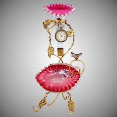 Antique Victorian Pocket Watch Holder Epergne Vase Stand Enamel Cased Ruffled Cranberry Glass