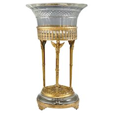 Antique French Napoleon III Gilt Bronze Empire Mounted Baccarat Cut Crystal Centerpiece Bowl Stand, Figural Eagles