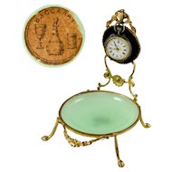 Antique French Baccarat Green Opaline Glass & Gilt Bronze Pocket Watch Holder Display Stand