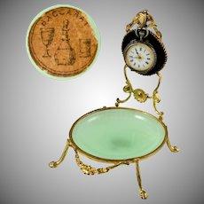 Antique French Baccarat Green Opaline Glass & Gilt Bronze Pocket Watch Holder Display Stand