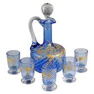 Antique French Blue Glass Liquor Set   Raised Gold Enamel & Swirl Pattern   Decanter & Cordial Aperitif Service