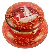 Antique Victorian Cranberry Glass Jewelry Box, Powder Jar, Mary Gregory Style Raised Enamel