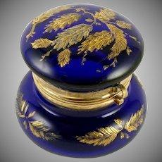 Antique Victorian Cobalt Blue Glass Patch Box Handed Raised Enamel Pinecones Silver & Gold Gilt